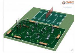 Пример многофункциональной площадки для занятий футболом, теннисом, волейболом, баскетболом.